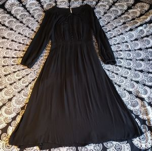 Free People Black Long Sleeve Button Up Dress